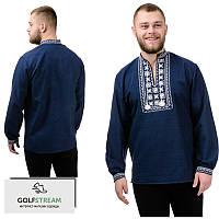 Модная сорочка-вышиванка Орнамент (темно-синий), фото 1