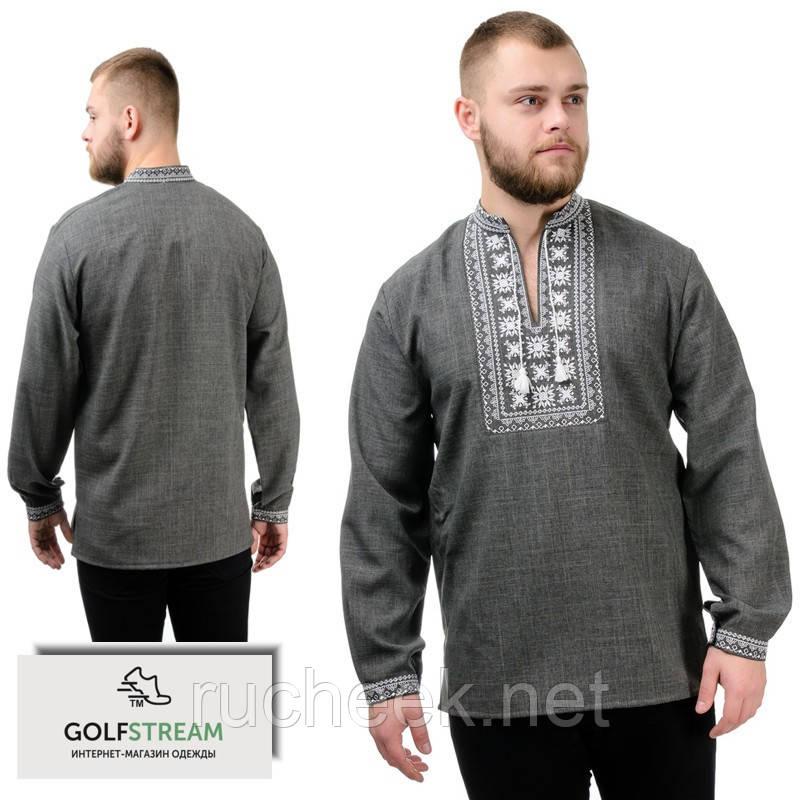 Современная сорочка-вышиванка Орнамент (темно-серый)