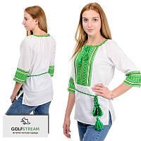 """Нарядная женская блуза """"Вышиванка"""" зеленый орнамент, фото 1"""