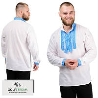 """Современная рубашка с длинным рукавом """"Вышиванка"""" голубая, фото 1"""