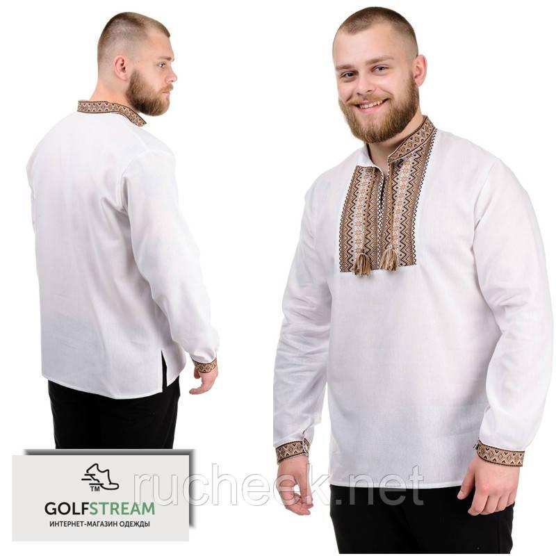 """Рубашка мужская с длинным рукавом """"Вышиванка"""" беж"""