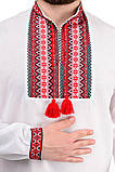"""Мужская рубашка с длинным рукавом """"Вышиванка"""" красная, фото 3"""