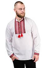 """Чоловіча сорочка з довгим рукавом """"Вишиванка"""" червона"""