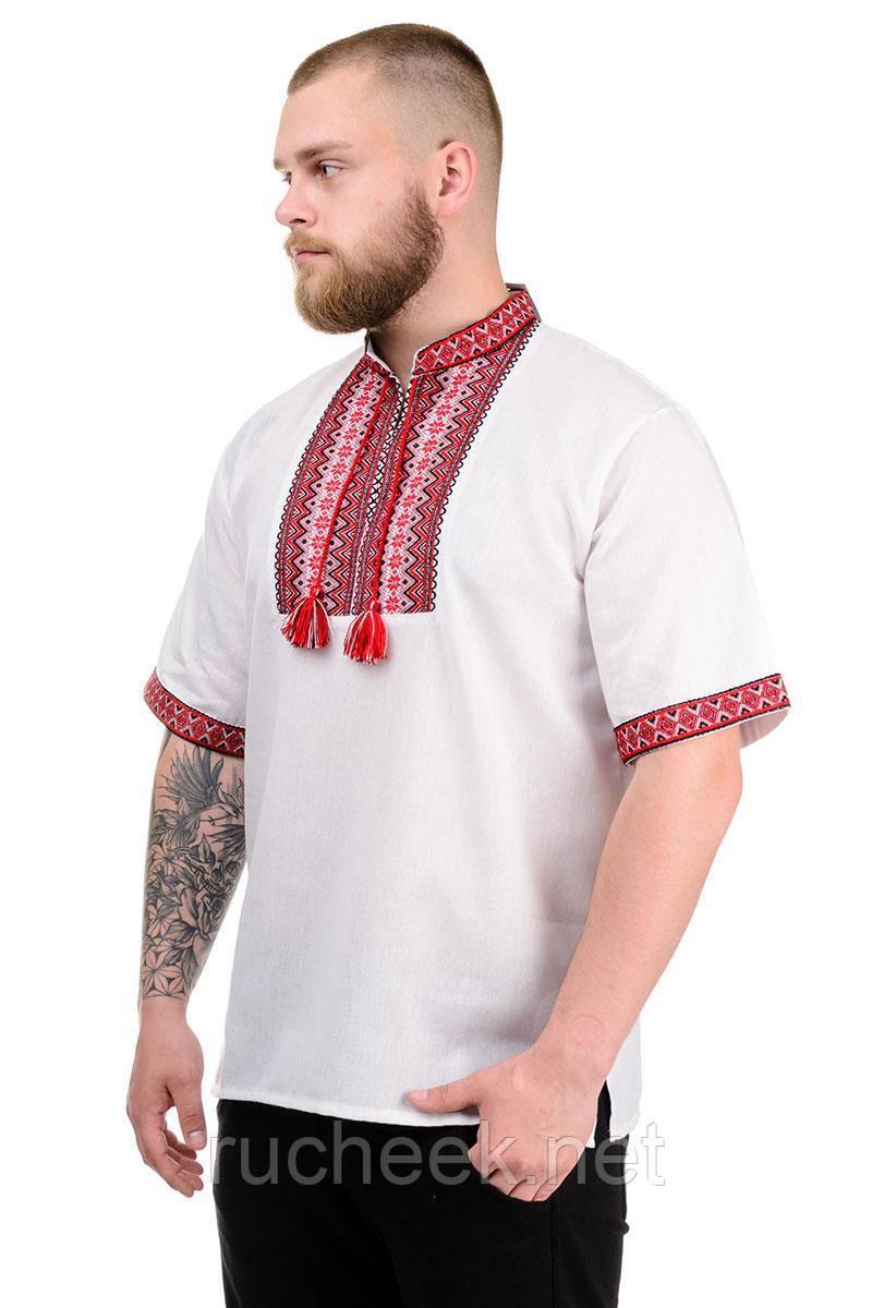 """Мужская сорочка """"Вышиванка"""" красный"""