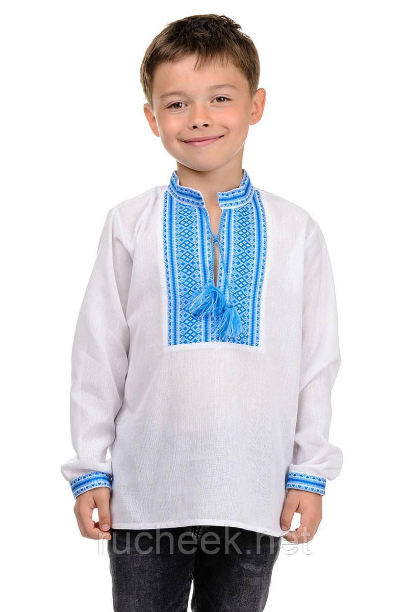 Рубашка Вышиванка для мальчика (голубой) рост 134 - 152