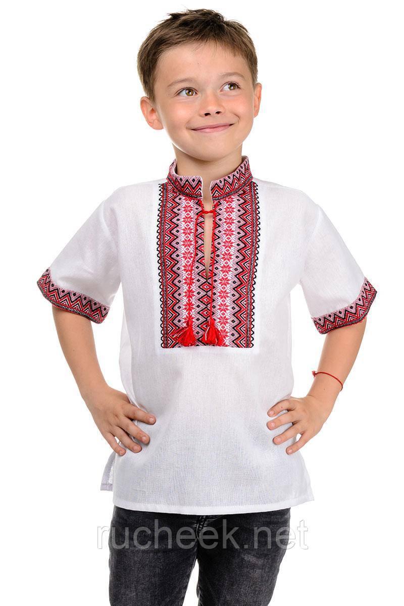 """Рубашка летняя """"Вышиванка"""" для мальчика (красный)"""