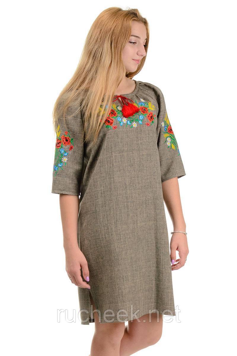 Платье с яркой вышивкой Маки (оливка)