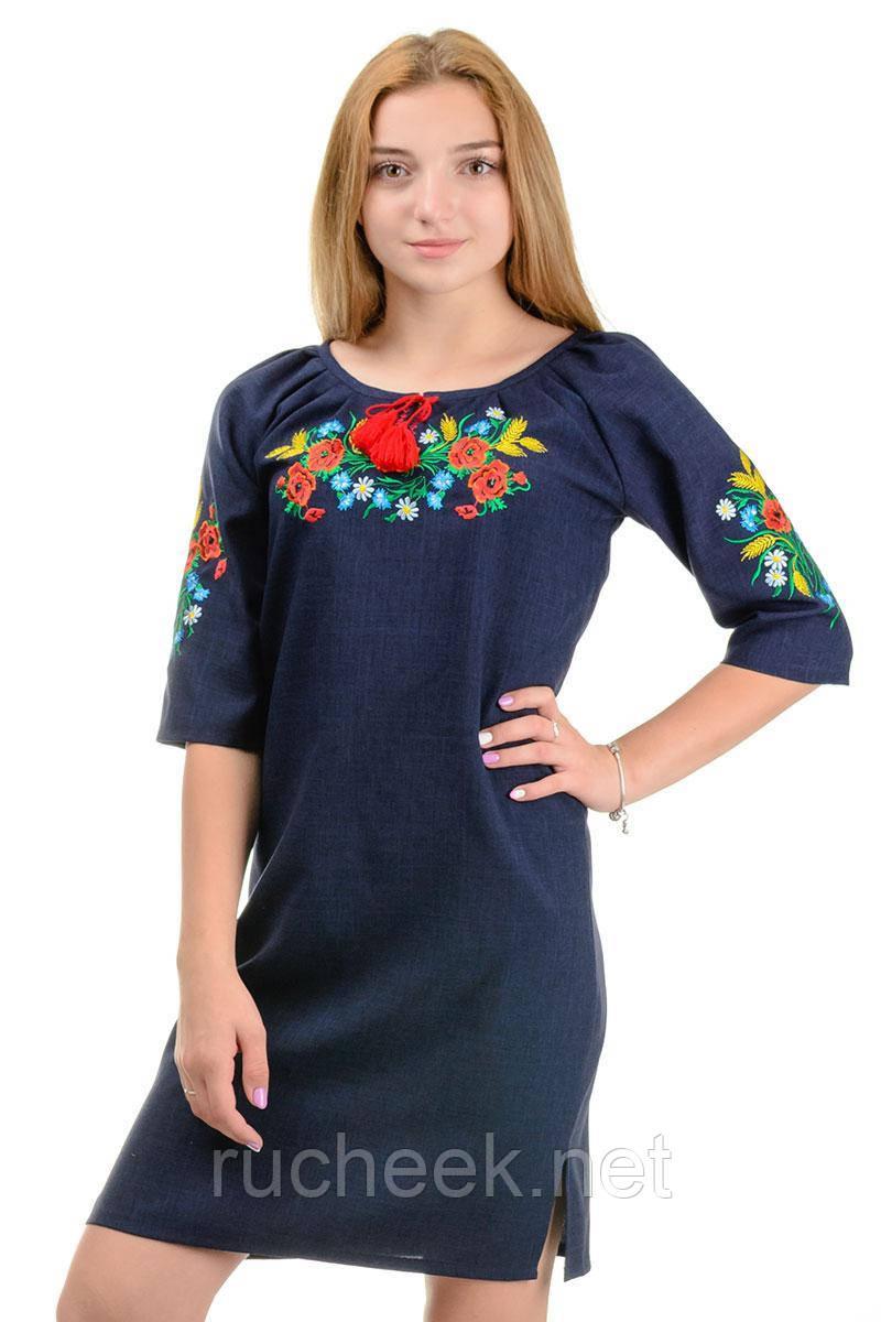 Платье с яркой вышивкой Маки (темно-синий)