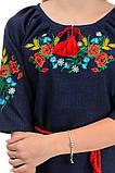 Платье с яркой вышивкой Маки (темно-синий), фото 4