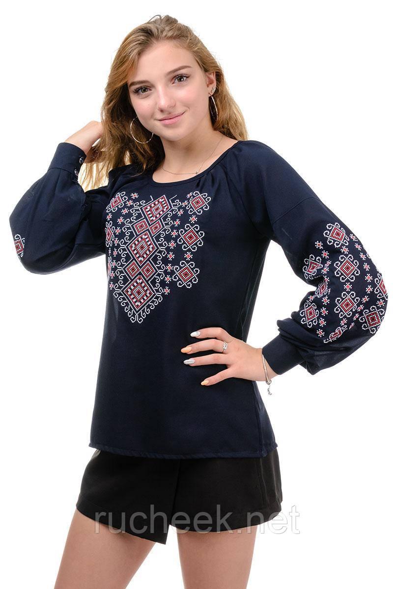 Женская блуза-вышиванка темно-синяя