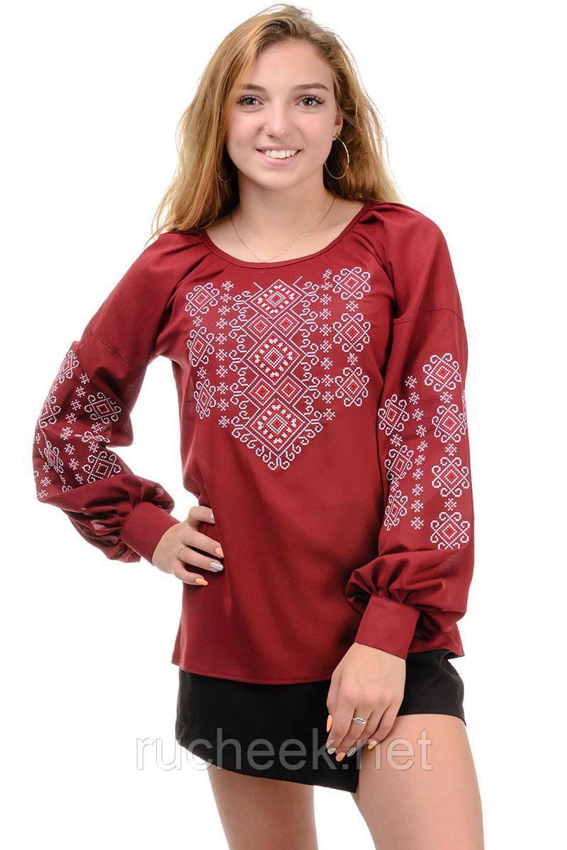 Блуза женская с вышивкой марсала