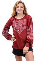 Блуза женская с вышивкой марсала, фото 1