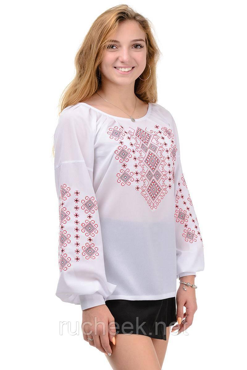 Блуза женская с вышивкой креп-шифон белая