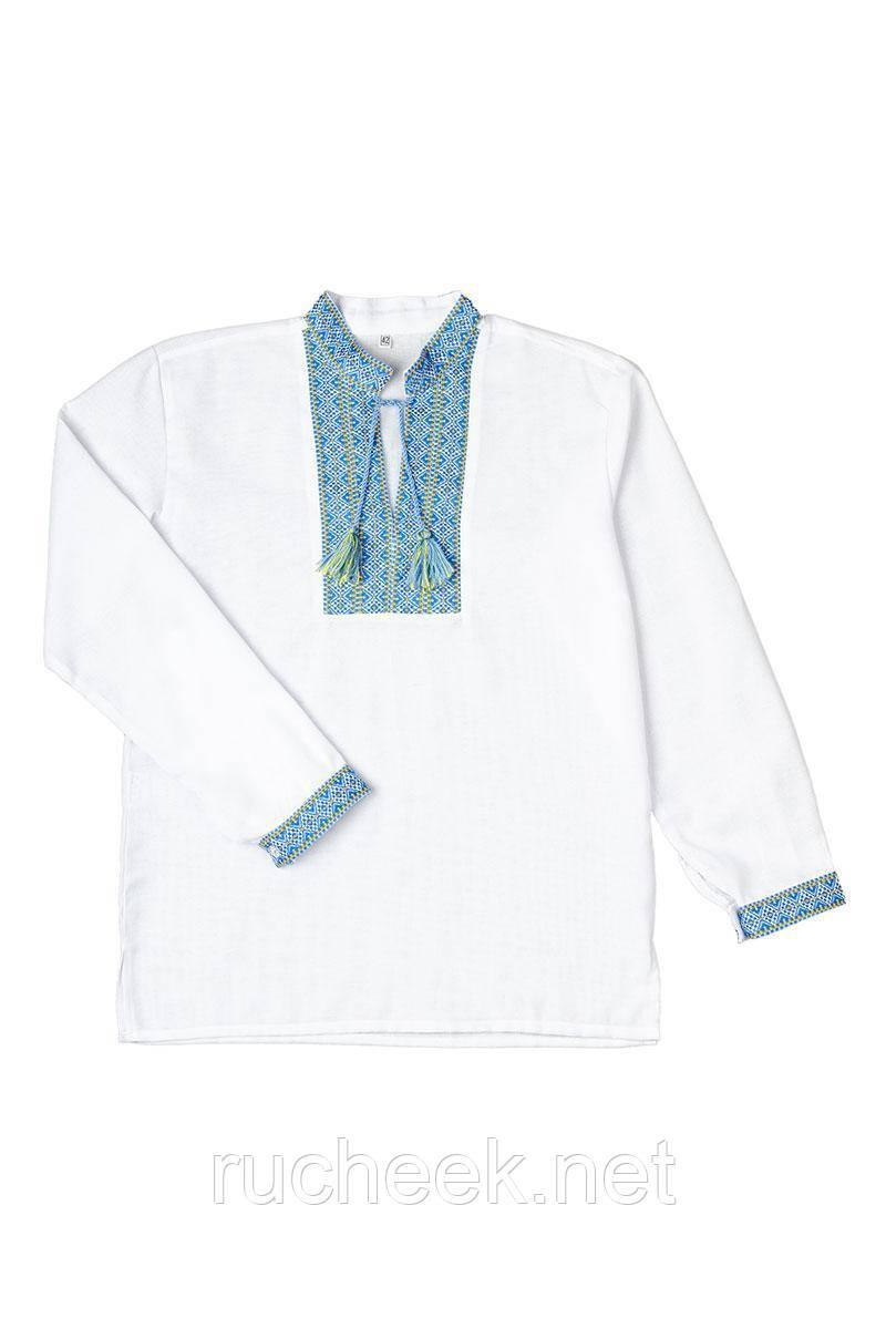 """Рубашка с длинным рукавом """"Вышиванка"""" для мальчика (голубая)"""