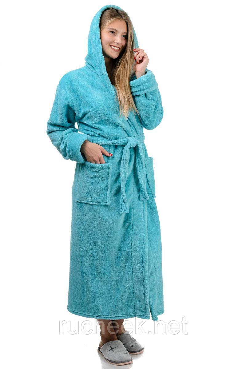 Длинный теплый халат (мята)