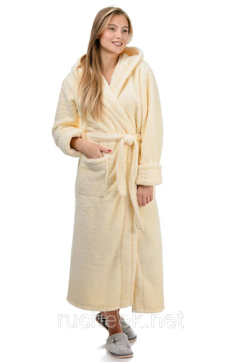 Зимний теплый халат длинный (молоко)