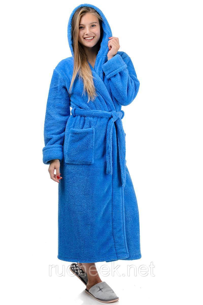 Женский теплый халат длинный (голубой)