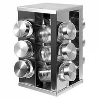 Набор для специй Benson BN-174 12 шт комплект баночек нержавеющая сталь на подставке (вращается)