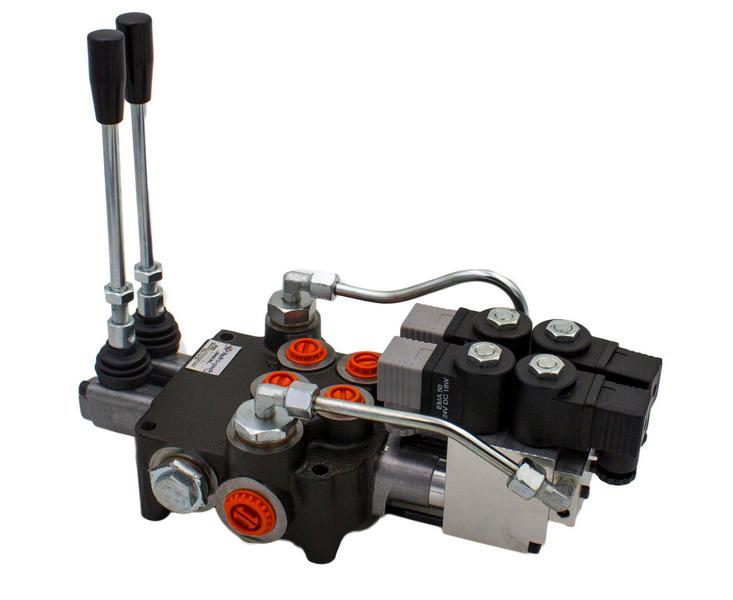 Гидрораспределитель Р80 2х секционный 80 л/мин (С электрогидравлическим управлением)