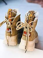 Женские зимние ботинки угги на массивной подошве бежевые с надписями, фото 1