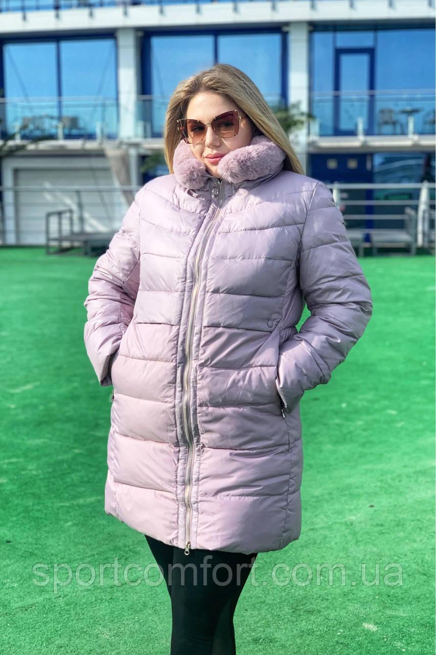 Пальто женское батал freever пудра, тёмно-синее