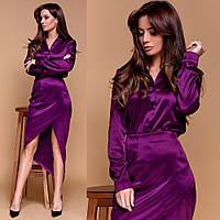 Жіночий атласний костюм сорочка + спідниця фіолетовий, фото 1
