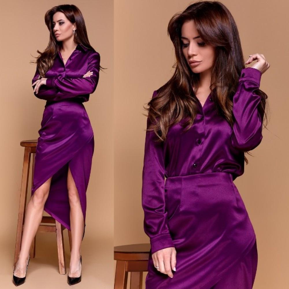 Жіночий атласний костюм сорочка + спідниця фіолетовий