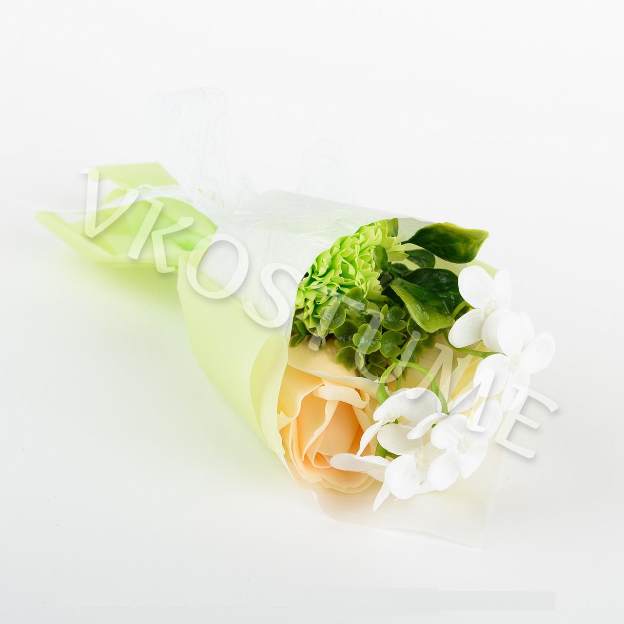 Подарочный букет роз из ароматного мыла в круглой упаковке, желтый