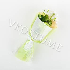 Подарочный букет роз из ароматного мыла в круглой упаковке, желтый, фото 2