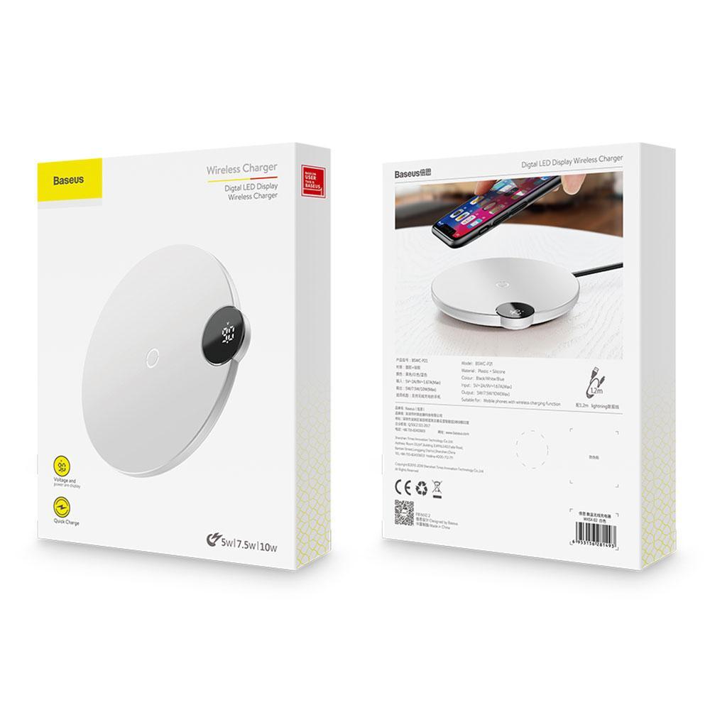 Беспроводное зарядное устройство Baseus Digtal LED Display Wireless Charger  White)