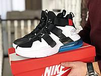 Мужские кроссовки Nike Air Force 270, Найк Аир Форс, демисезонные, пресскожа, белые с черным