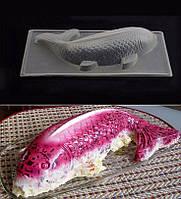 Пластиковая форма для салатов, желе 3D рыба большая, 30 см