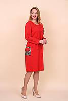 Платье женское большого размера красного цвета. Размеры 54, 56, 58, 60. Хмельницкий
