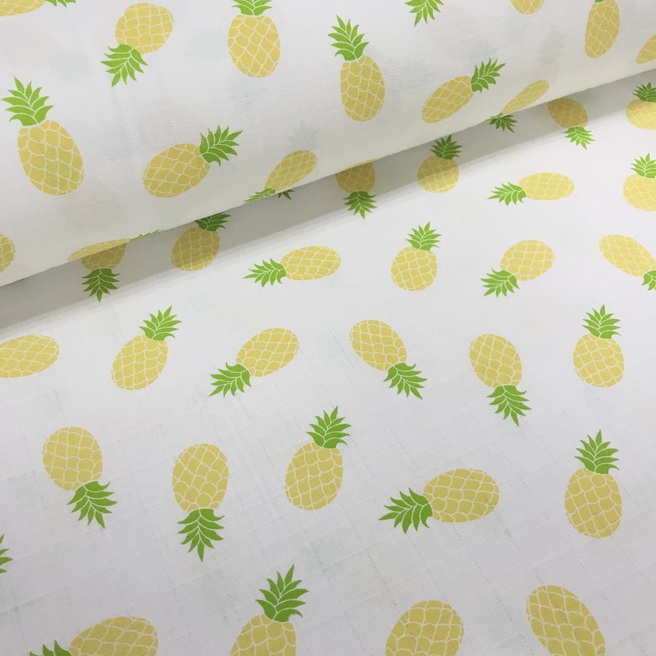 Ткань муслин Двухслойная ананасы на белом (шир. 1,6 м)