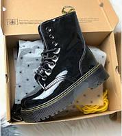 Dr. Martens Jadon Fur Gloss Black (мех) | берцы/ботинки женские; черные; зимние; платформа; блестки; с мехом