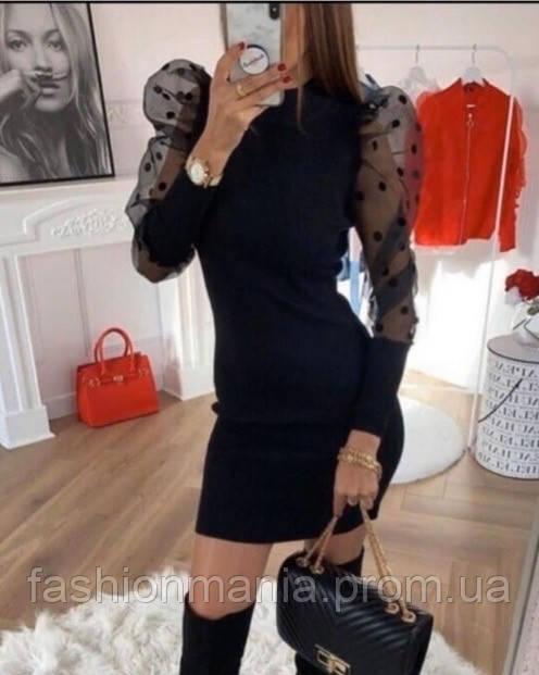 Платье женское стильное с рукавами фонариками