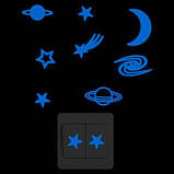 """Люмінесцентна синя наклейка """"Космос"""" - 10*10см (набирає світло і світиться синім), фото 2"""