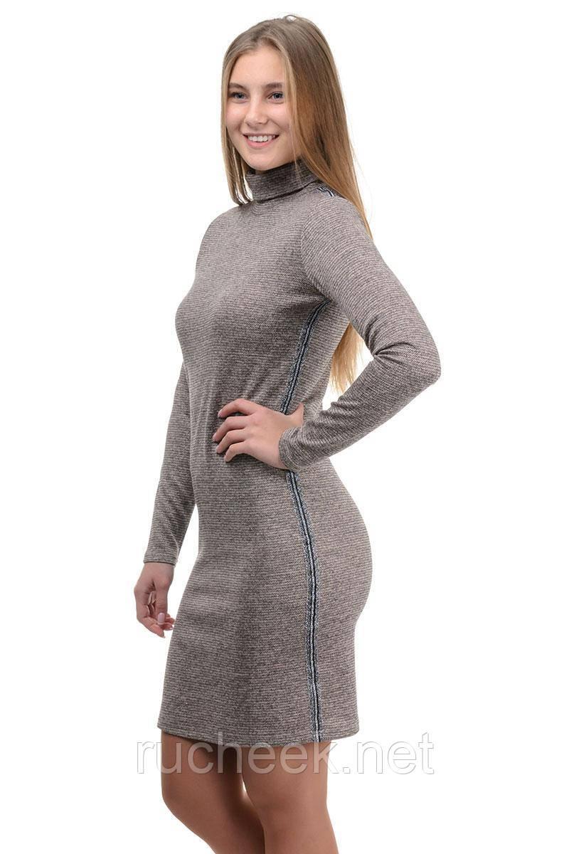 """Повседневное платье """"Monika lurex"""" лампас (беж)"""