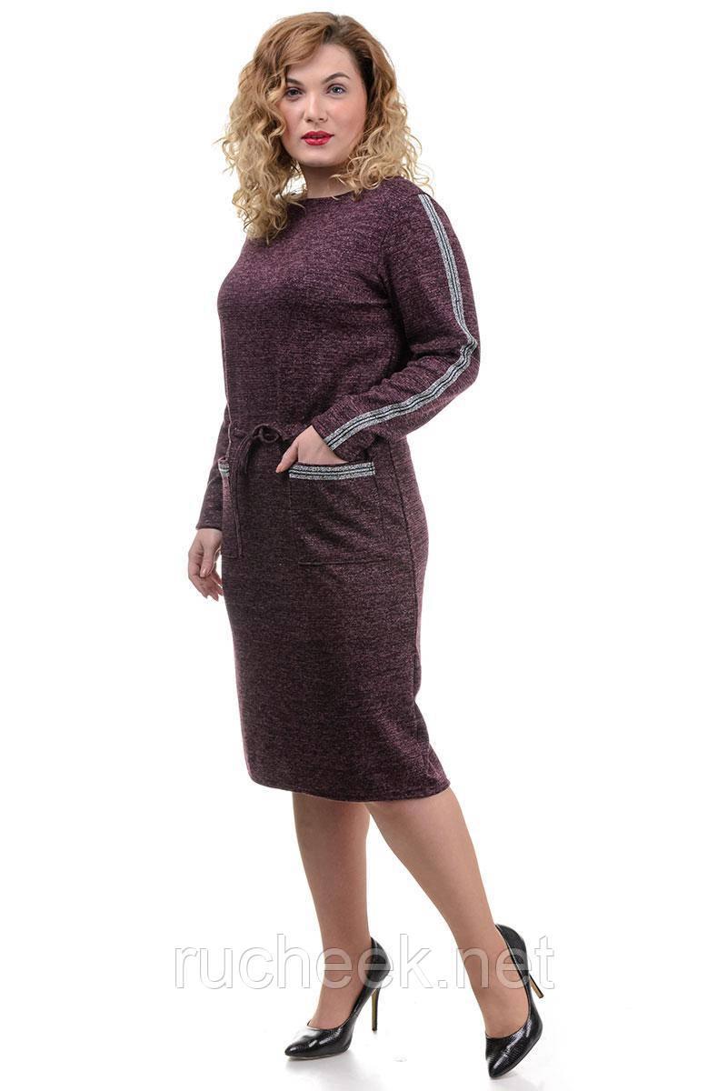Модное трикотажное платье Jessica Lurex лампас марсала