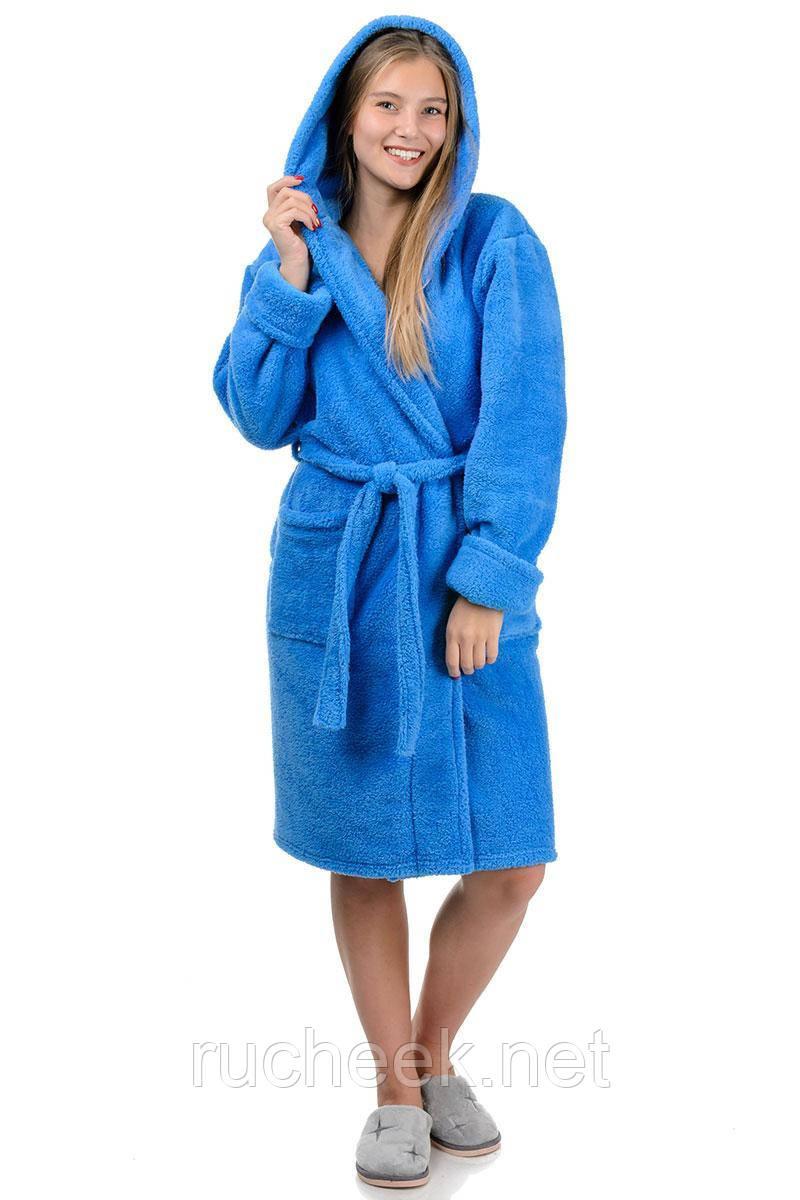 Махровый женский халат короткий (голубой)