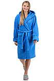 Махровый женский халат короткий (голубой), фото 3