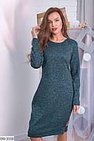 Платье -туника с лампасами и карманами ангоровое по колено арт 362