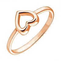 Золотое кольцо I love you с шинкой в форме сердца в красном цвете 000036379 15 размер