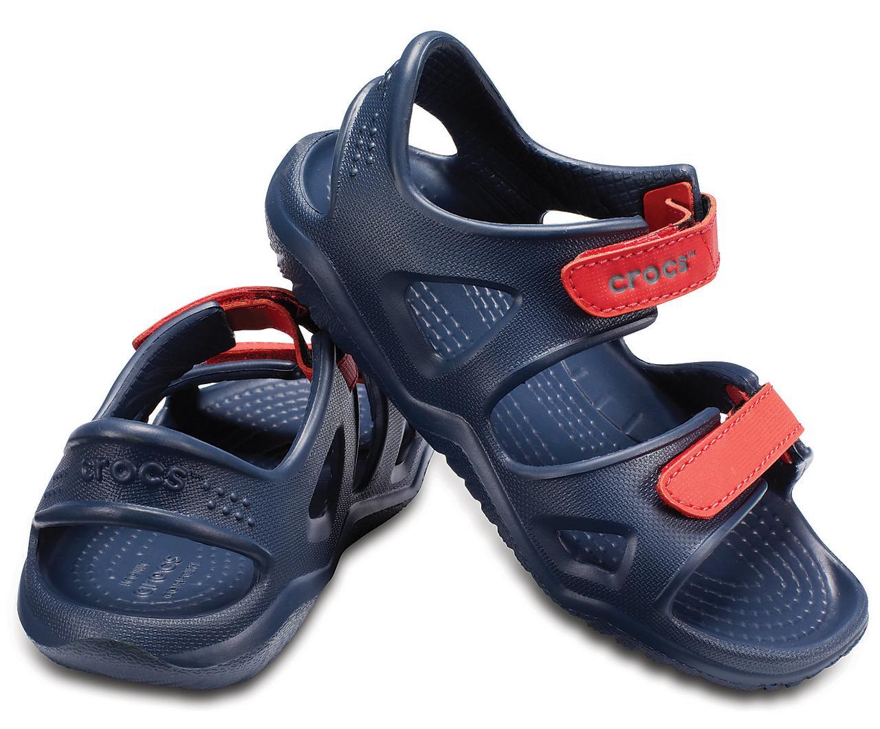 Босоножки сандалии для мальчика Кроксы оригинал / Crocs Kids' Swiftwater River Sandal (204988), Темно-синие