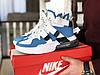 Мужские кроссовки Nike Air Force 270, Найк Аир Форс, демисезонные, пресскожа, белые с голубым