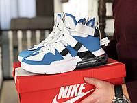 Мужские кроссовки Nike Air Force 270, Найк Аир Форс, демисезонные, пресскожа, белые с голубым, фото 1