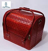 Бьюти кейс чемодан для мастера салонов красоты из кожзама на змейке красный луи
