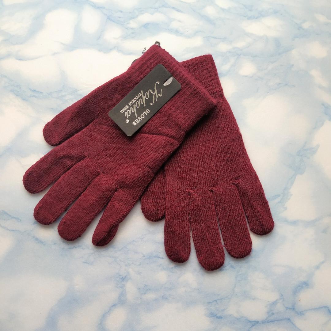 Перчатки женские теплые цвет бордо