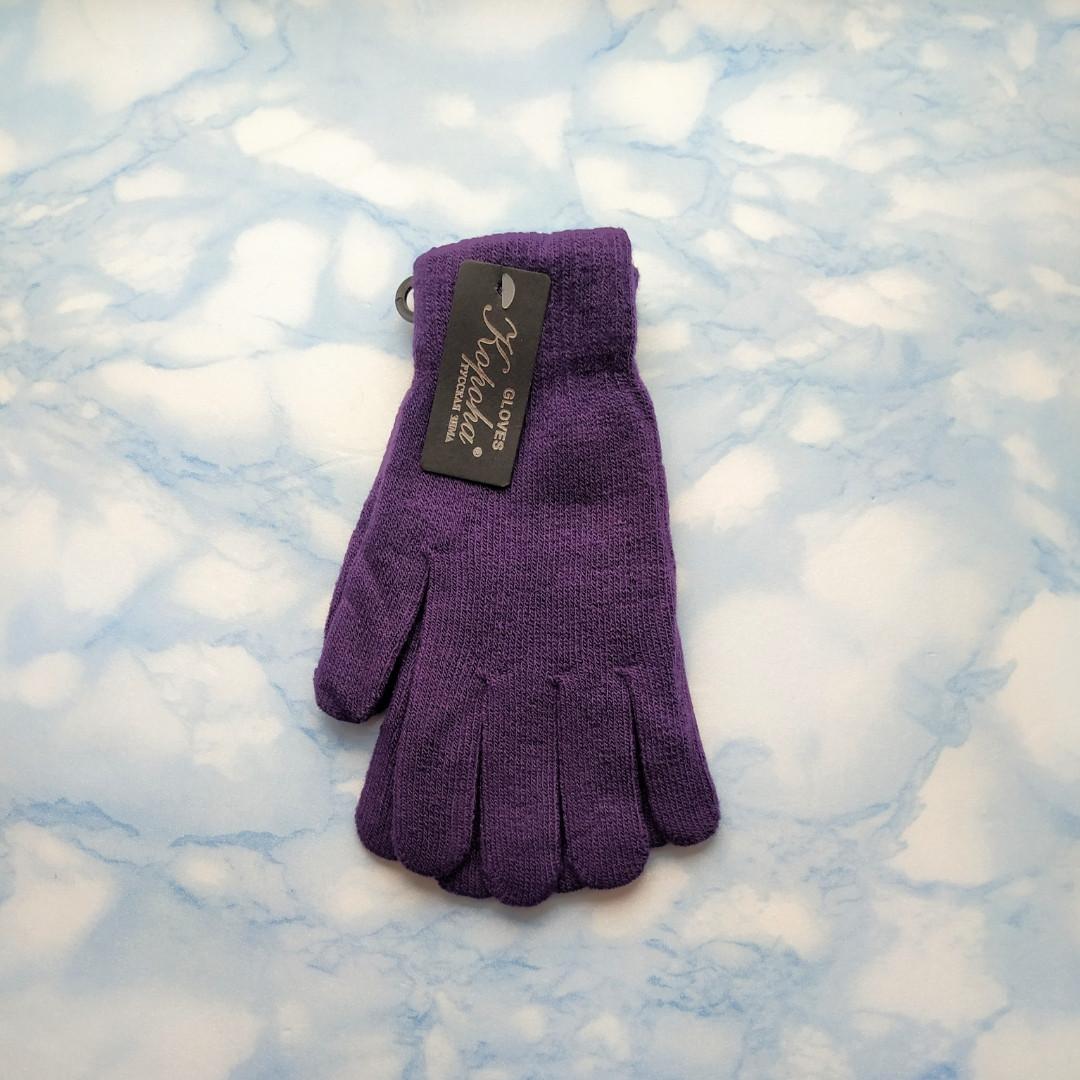 Перчатки женские теплые цвет баклажан