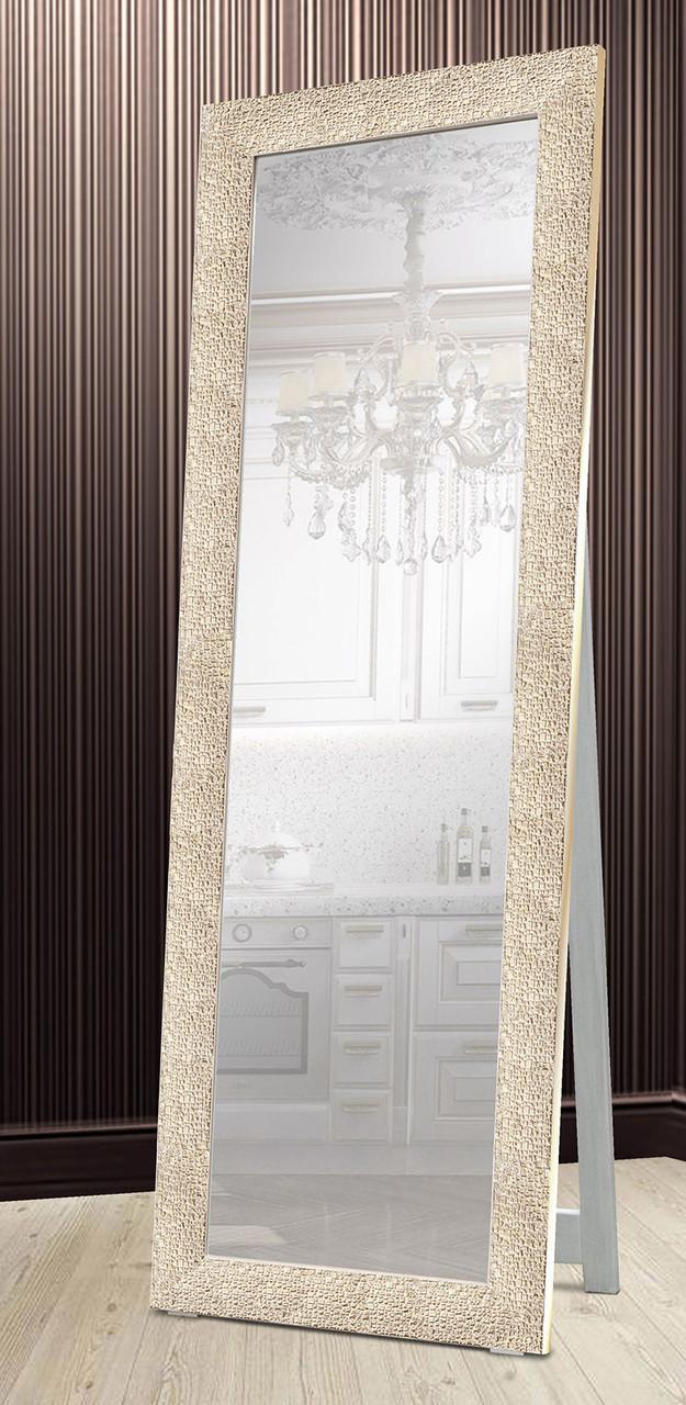Зеркало напольное в раме Factura с деревянной подставкой Textured beige 60х174 бежевый